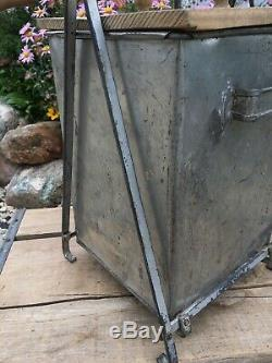 Vintage Gallon Tin Metal & Wooden Paddle Butter Churn Stand Lid Cast Iron Gear