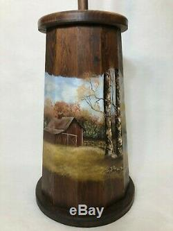 Vintage Handpainted by Shirley'91 Wooden Butter Churn with Dash, 32 Tall