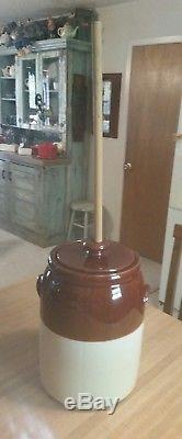Vintage McCoy Stoneware Butter Churn Crock with Lid and Dasher Mint