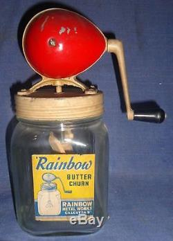 Vintage RAINBOW BUTTER CHURN Original Wooden Paddle Spoon RED FOOTBALL Top
