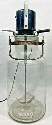 Vintage Rare Large Glass Butter Churn With Electric Motor Dayton Electric Motor