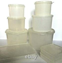 Vintage Tupperware Lot of 9 Canisters Stacking Sheer Clear Various Sizes W Lids