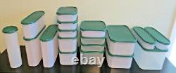 Vintage Tupperware Modular Mates Lot 36 Pc Stackable Storage Containers Green