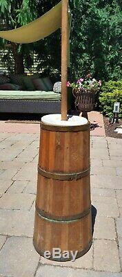 Vintage Wooden Butter Churn, Dasher & Replacement Lid 39 tall with Dasher
