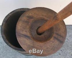 Vintage Wooden Butter Churn Original Bands, Dasher & Lid 41 tall with Dasher