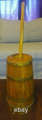 Wooden Barrell Metal Banded Butter Churn WithDasher And Lid Primitive Large
