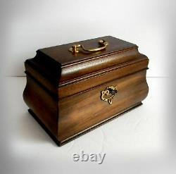 Wooden tea caddy box with hinged lid key and lock